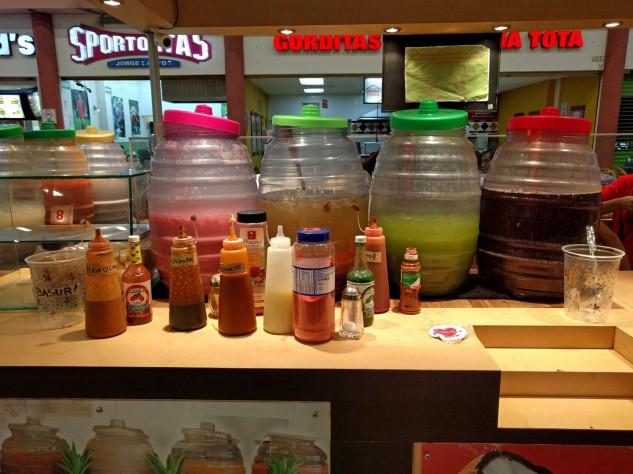 Always popular, drinks from big jars and lots of different sauce options.