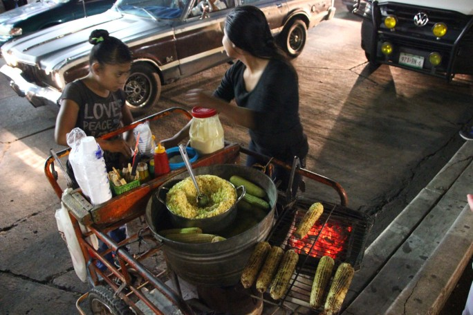 Roasted corn is served from carts like this all over the country.
