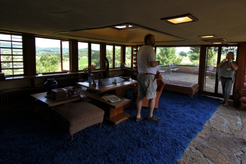 This is Wright's study, complete with original shag carpet.