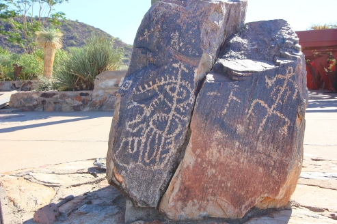 Wright incorporated petroglyphs found onsight into his landscape design.
